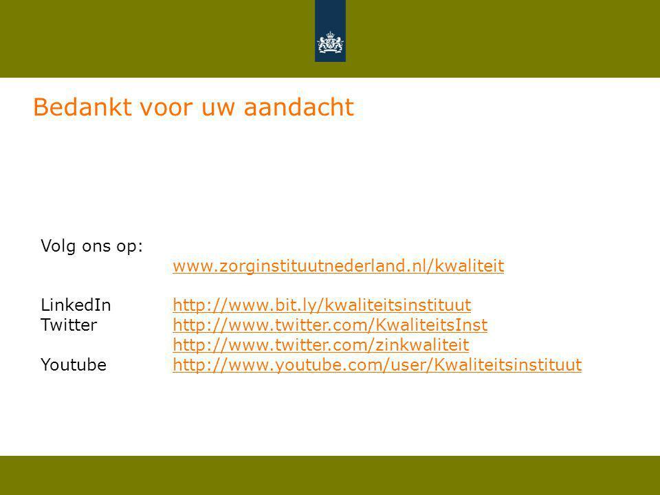 Volg ons op: www.zorginstituutnederland.nl/kwaliteit LinkedIn http://www.bit.ly/kwaliteitsinstituuthttp://www.bit.ly/kwaliteitsinstituut Twitter http: