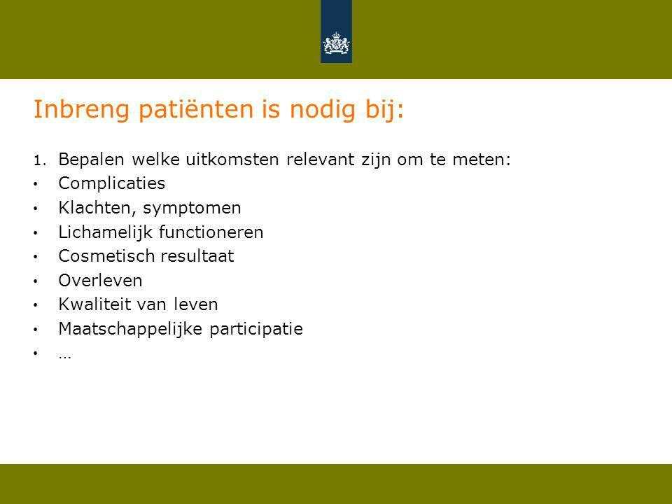 Inbreng patiënten is nodig bij: 1. Bepalen welke uitkomsten relevant zijn om te meten: Complicaties Klachten, symptomen Lichamelijk functioneren Cosme