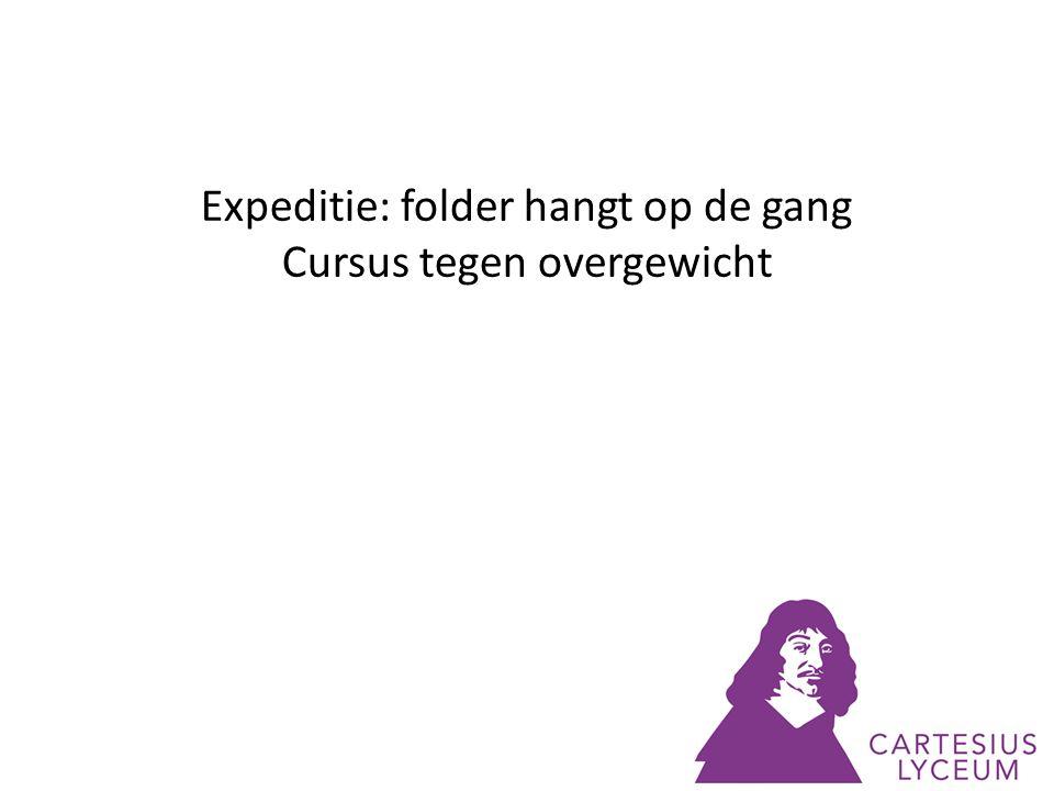 Expeditie: folder hangt op de gang Cursus tegen overgewicht