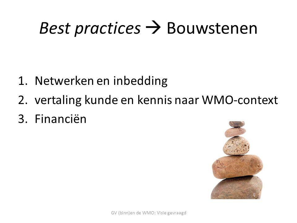 Best practices  Bouwstenen 1.Netwerken en inbedding 2.vertaling kunde en kennis naar WMO-context 3.Financiën GV (binn)en de WMO: Visie gevraagd