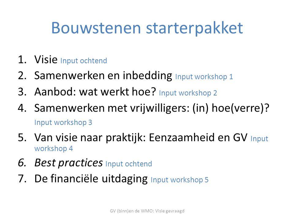 Bouwstenen starterpakket 1.Visie Input ochtend 2.Samenwerken en inbedding Input workshop 1 3.Aanbod: wat werkt hoe.