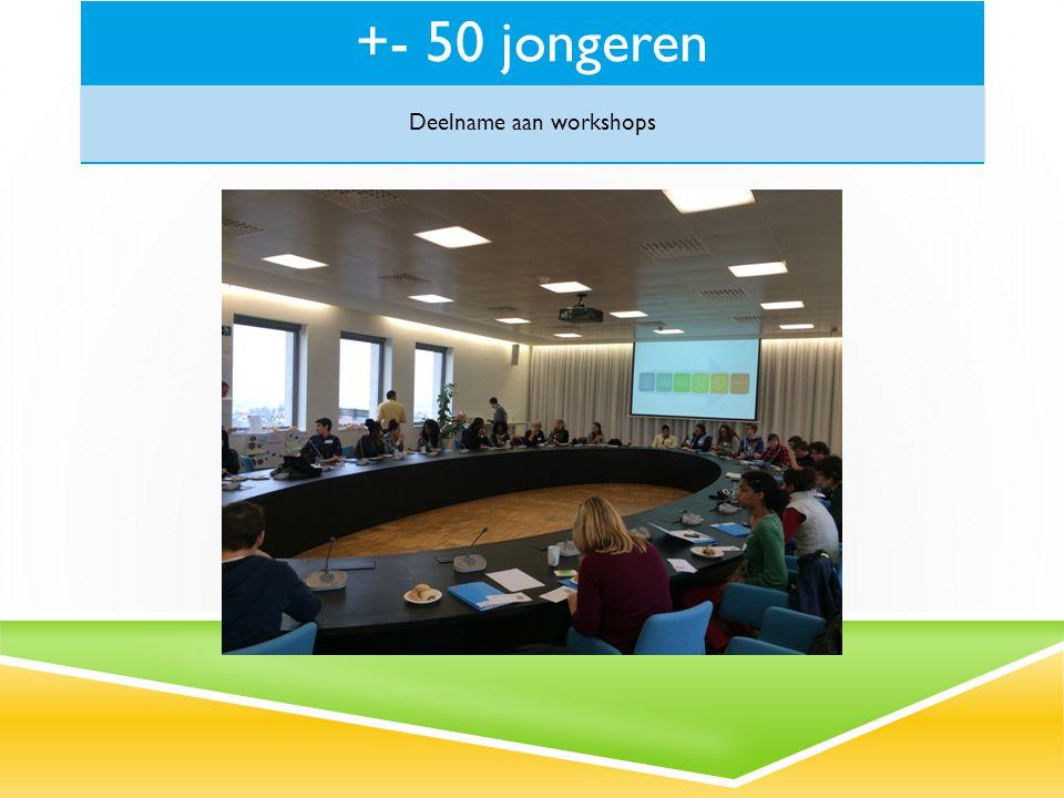 +- 50 jongeren Deelname aan workshops