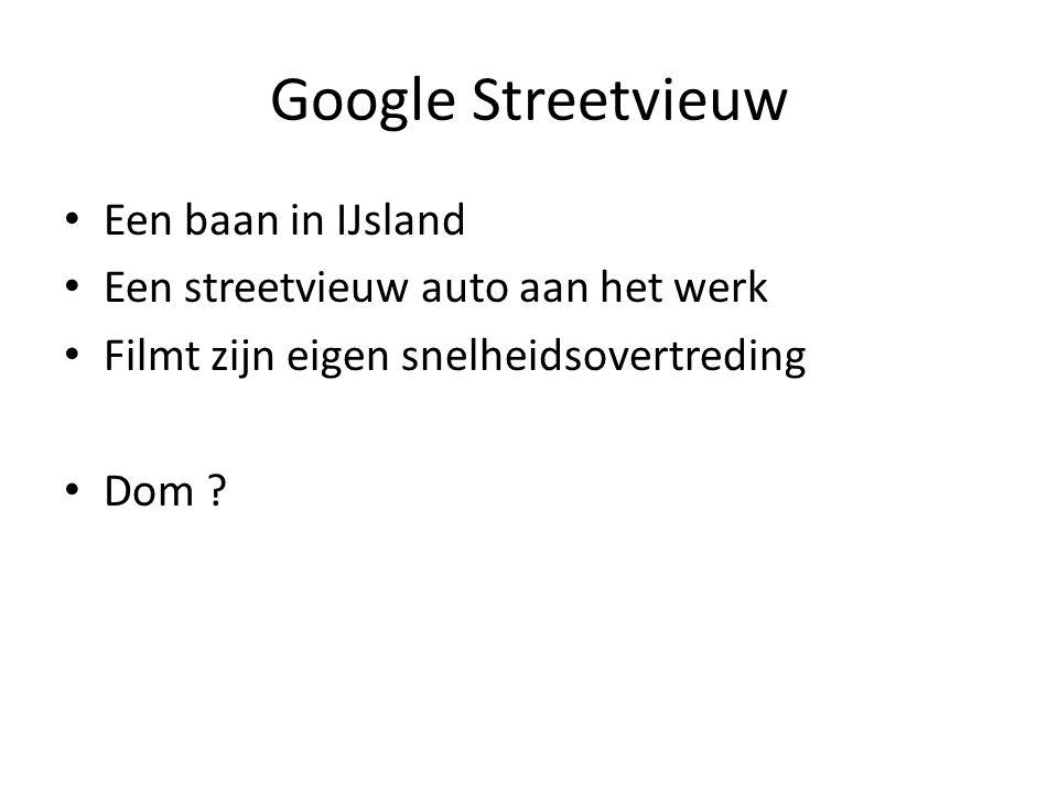 Google Streetvieuw Een baan in IJsland Een streetvieuw auto aan het werk Filmt zijn eigen snelheidsovertreding Dom ?