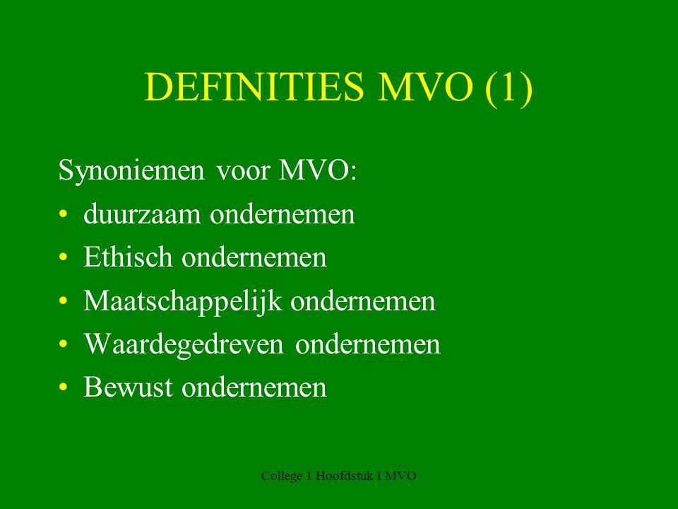 College 1 Hoofdstuk 1 MVO DEFINITIES MVO (1) Synoniemen voor MVO: duurzaam ondernemen Ethisch ondernemen Maatschappelijk ondernemen Waardegedreven ondernemen Bewust ondernemen