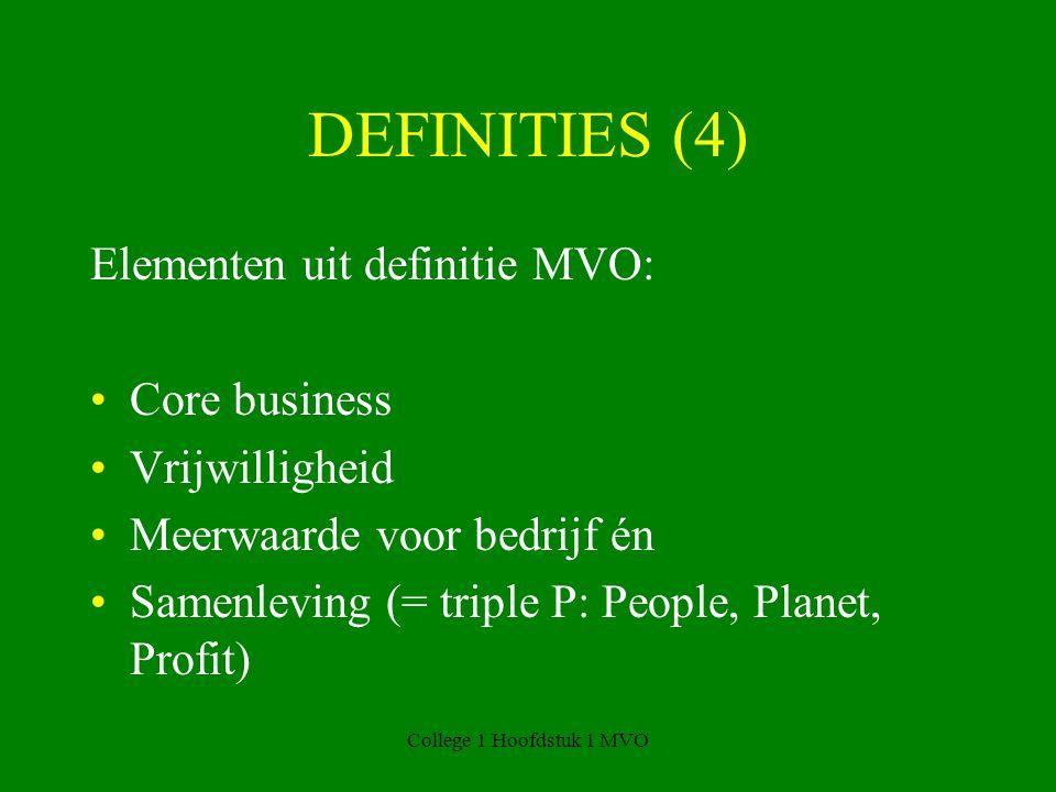 College 1 Hoofdstuk 1 MVO DEFINITIES (4) Elementen uit definitie MVO: Core business Vrijwilligheid Meerwaarde voor bedrijf én Samenleving (= triple P: People, Planet, Profit)
