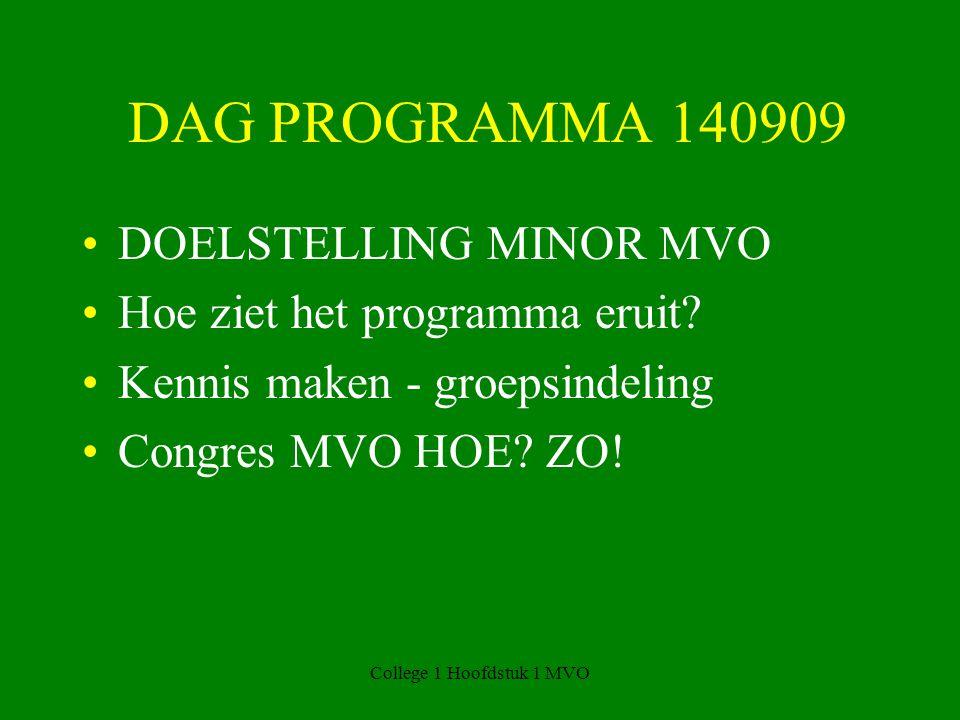 DAG PROGRAMMA 140909 DOELSTELLING MINOR MVO Hoe ziet het programma eruit.