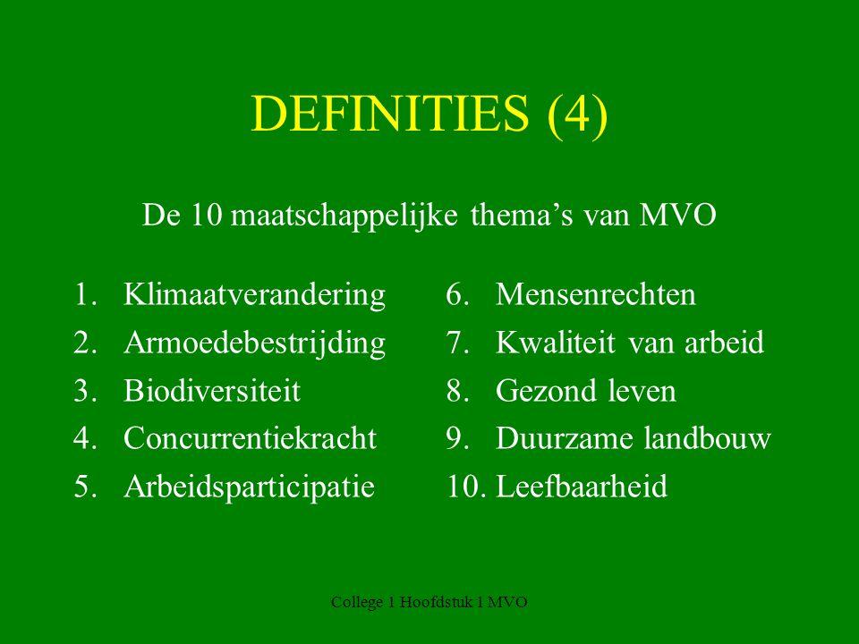 College 1 Hoofdstuk 1 MVO DEFINITIES (4) 1.Klimaatverandering 2.Armoedebestrijding 3.Biodiversiteit 4.Concurrentiekracht 5.Arbeidsparticipatie 6.Mensenrechten 7.Kwaliteit van arbeid 8.Gezond leven 9.Duurzame landbouw 10.Leefbaarheid De 10 maatschappelijke thema's van MVO