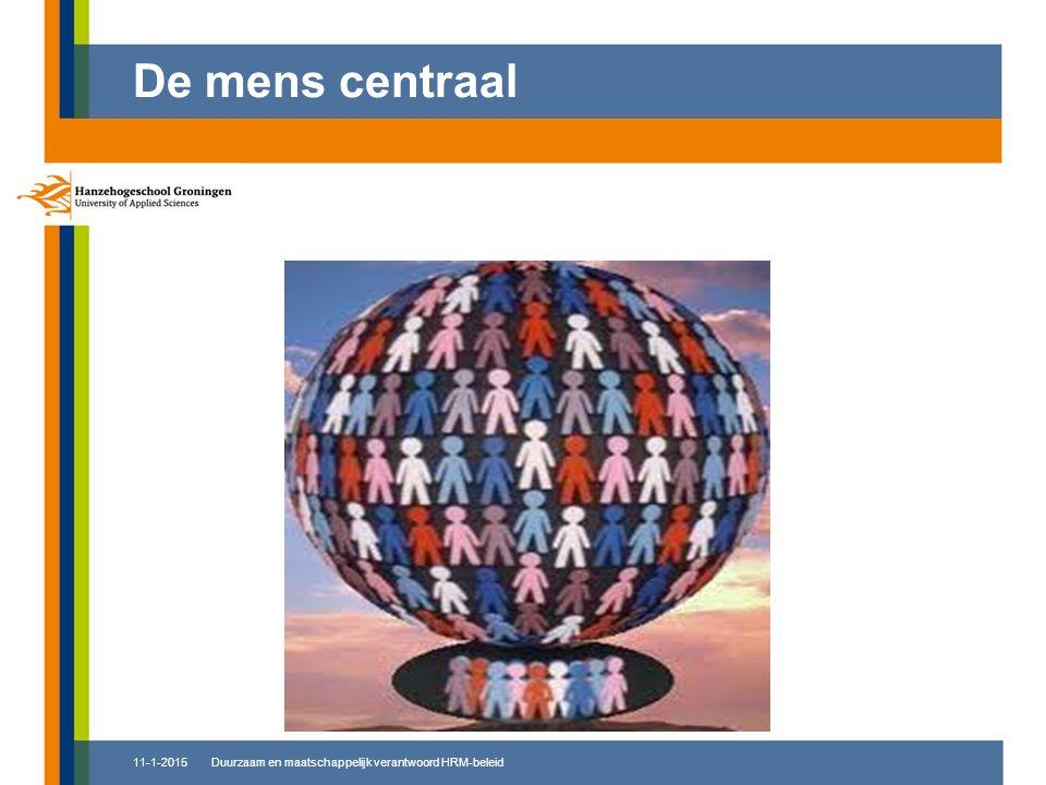 11-1-2015 De mens centraal Duurzaam en maatschappelijk verantwoord HRM-beleid