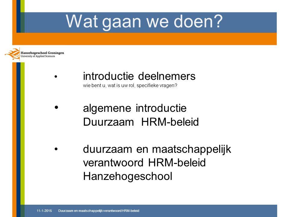 Wat gaan we doen? introductie deelnemers wie bent u, wat is uw rol, specifieke vragen? algemene introductie Duurzaam HRM-beleid duurzaam en maatschapp