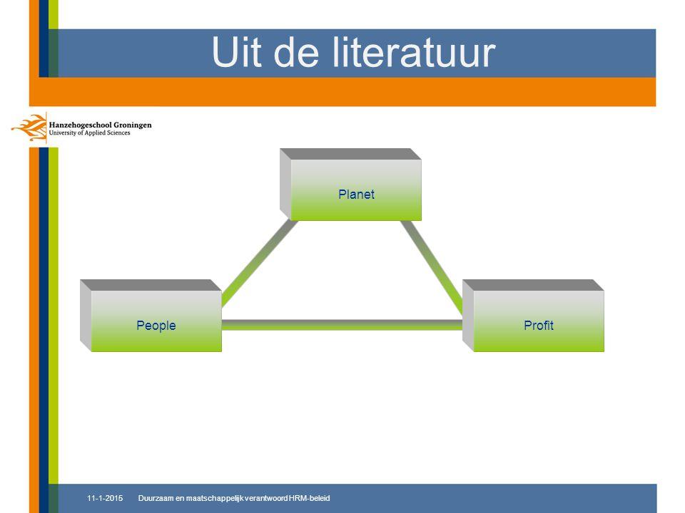 Planet PeopleProfit Uit de literatuur 11-1-2015Duurzaam en maatschappelijk verantwoord HRM-beleid