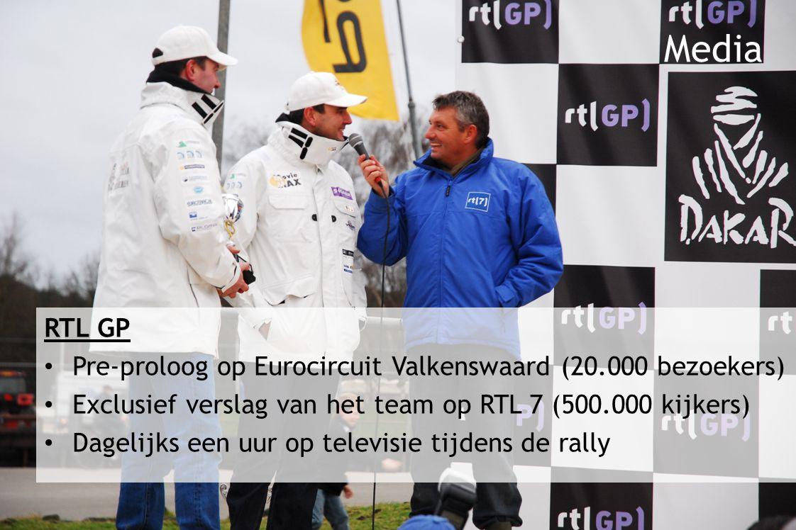 RTL GP Pre-proloog op Eurocircuit Valkenswaard (20.000 bezoekers) Exclusief verslag van het team op RTL 7 (500.000 kijkers) Dagelijks een uur op televisie tijdens de rally Media