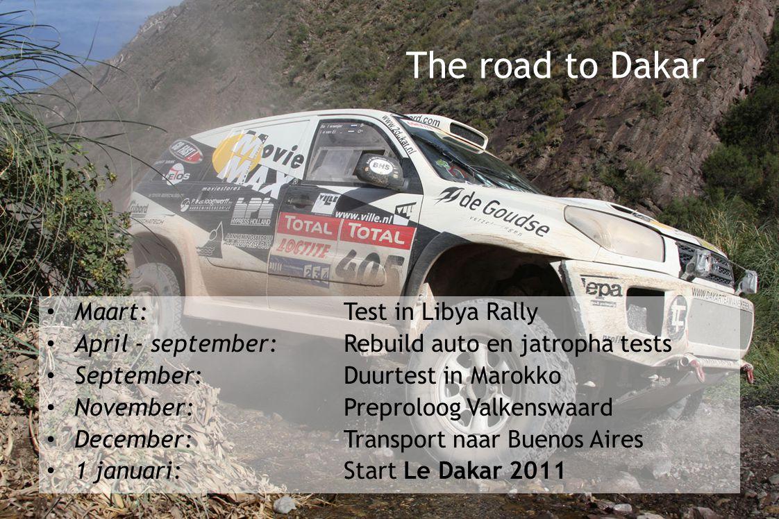 Maart: Test in Libya Rally April - september:Rebuild auto en jatropha tests September: Duurtest in Marokko November:Preproloog Valkenswaard December:Transport naar Buenos Aires 1 januari:Start Le Dakar 2011 The road to Dakar