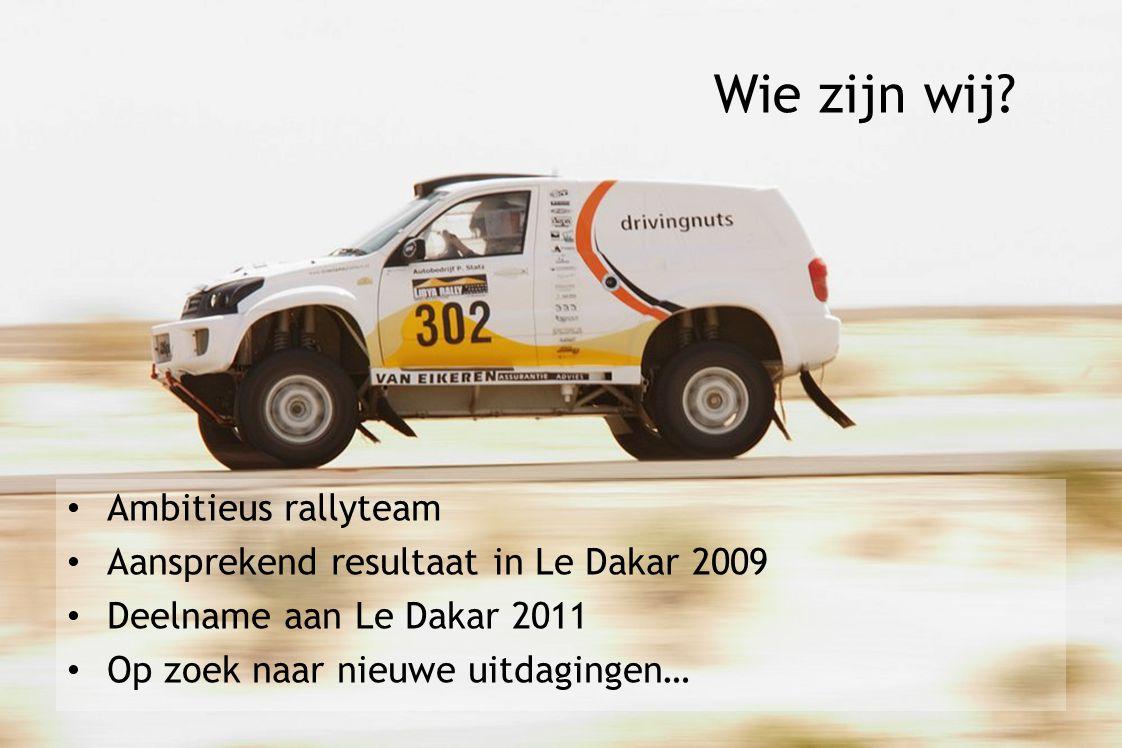 Ambitieus rallyteam Aansprekend resultaat in Le Dakar 2009 Deelname aan Le Dakar 2011 Op zoek naar nieuwe uitdagingen… Wie zijn wij