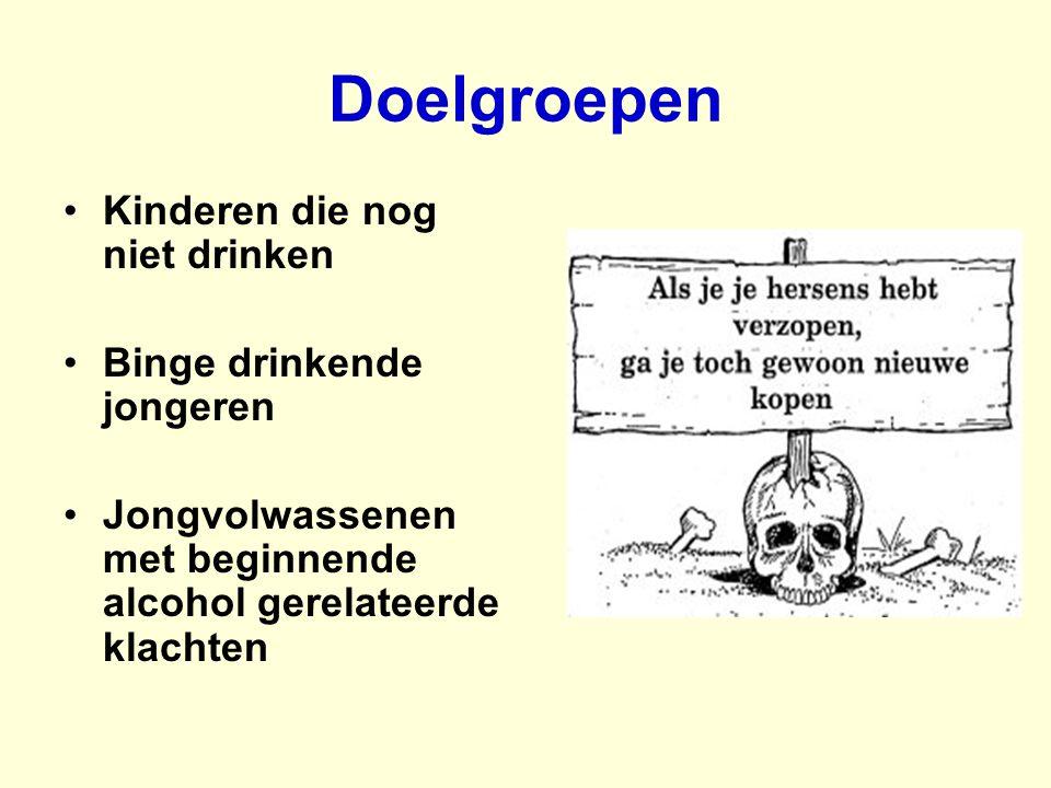 Doelgroepen Kinderen die nog niet drinken Binge drinkende jongeren Jongvolwassenen met beginnende alcohol gerelateerde klachten