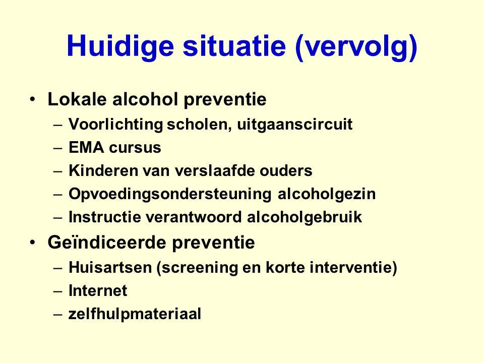 Huidige situatie (vervolg) Lokale alcohol preventie –Voorlichting scholen, uitgaanscircuit –EMA cursus –Kinderen van verslaafde ouders –Opvoedingsonde