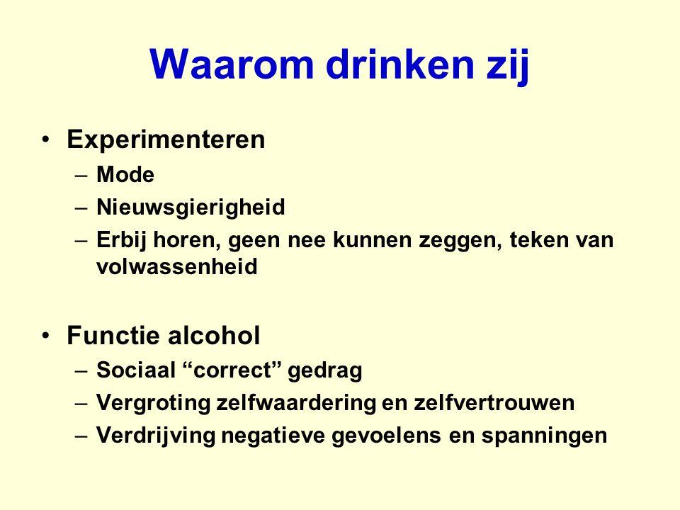 """Waarom drinken zij Experimenteren –Mode –Nieuwsgierigheid –Erbij horen, geen nee kunnen zeggen, teken van volwassenheid Functie alcohol –Sociaal """"corr"""