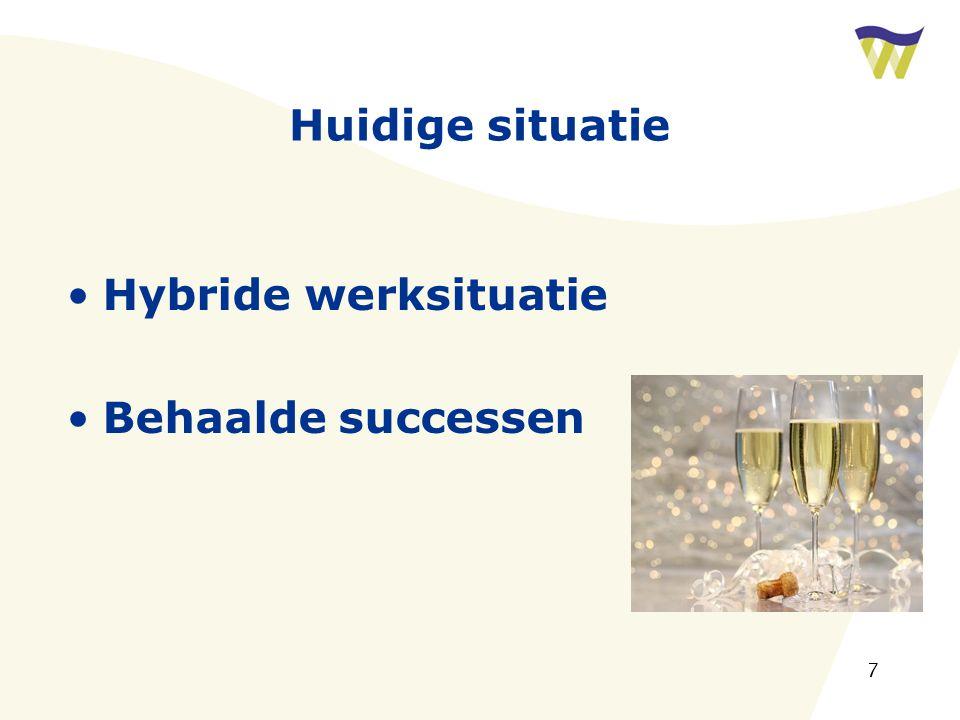 7 Huidige situatie Hybride werksituatie Behaalde successen