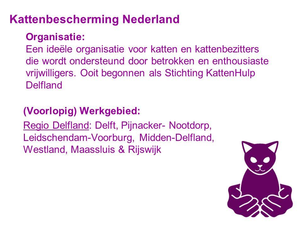 Organisatie: Een ideële organisatie voor katten en kattenbezitters die wordt ondersteund door betrokken en enthousiaste vrijwilligers.