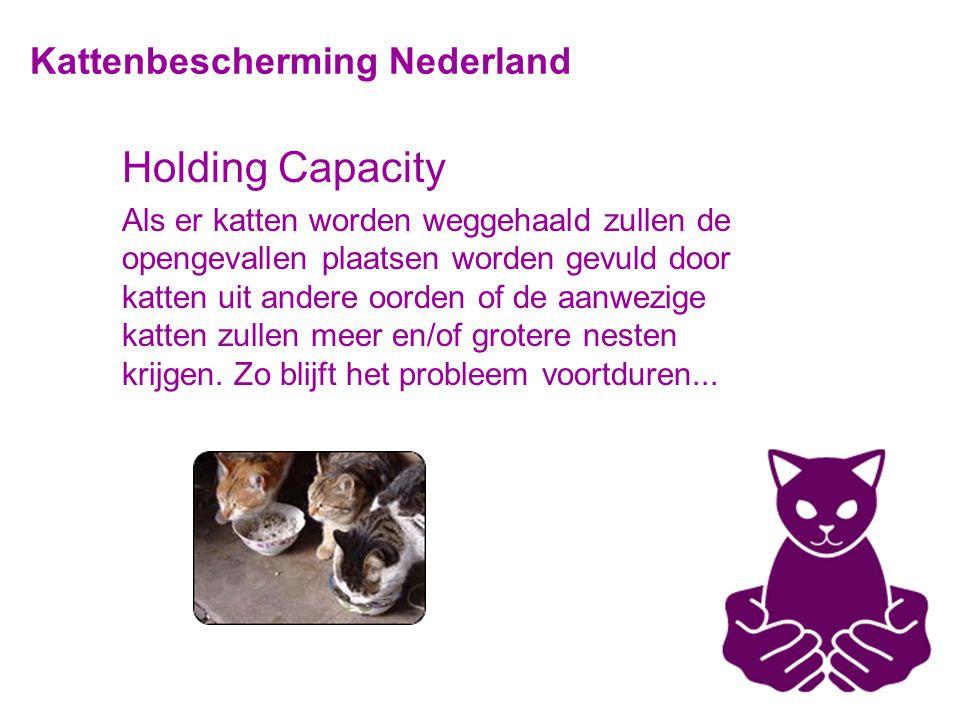 Kattenbescherming Nederland Holding Capacity Als er katten worden weggehaald zullen de opengevallen plaatsen worden gevuld door katten uit andere oorden of de aanwezige katten zullen meer en/of grotere nesten krijgen.