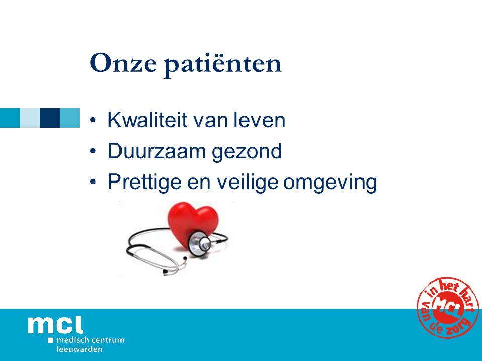 Onze patiënten Kwaliteit van leven Duurzaam gezond Prettige en veilige omgeving