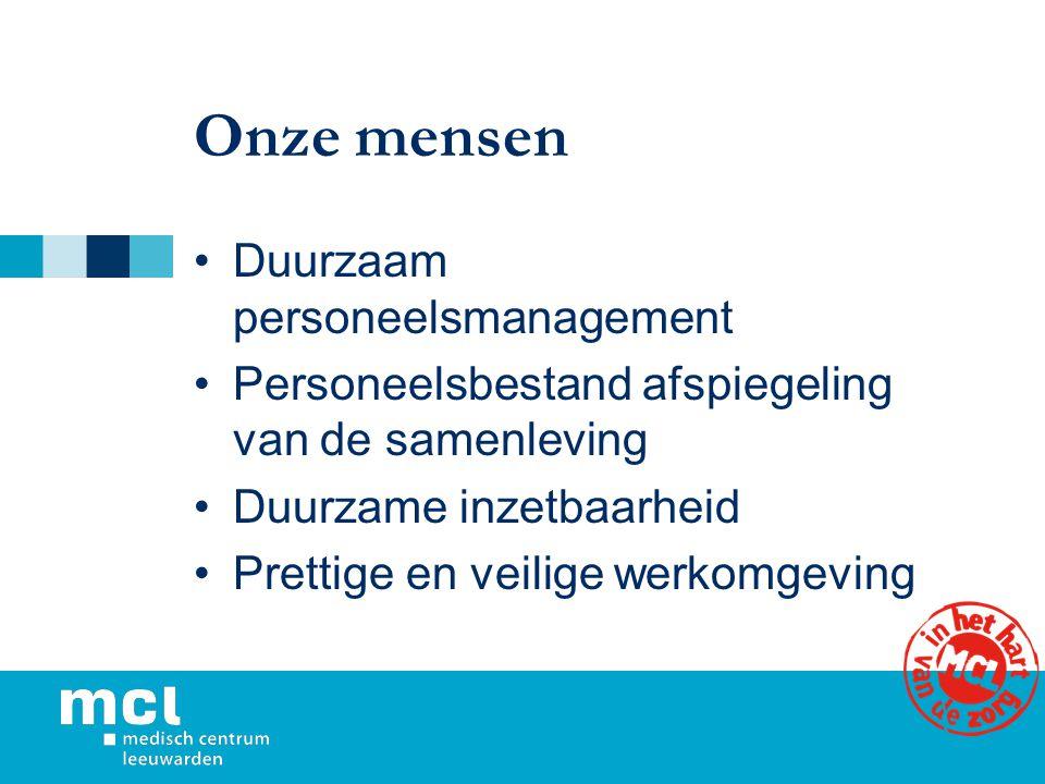 Onze mensen Duurzaam personeelsmanagement Personeelsbestand afspiegeling van de samenleving Duurzame inzetbaarheid Prettige en veilige werkomgeving