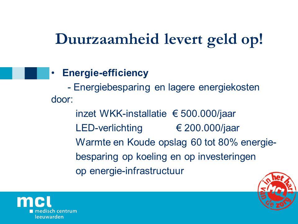 Duurzaamheid levert geld op! Energie-efficiency - Energiebesparing en lagere energiekosten door: inzet WKK-installatie € 500.000/jaar LED-verlichting