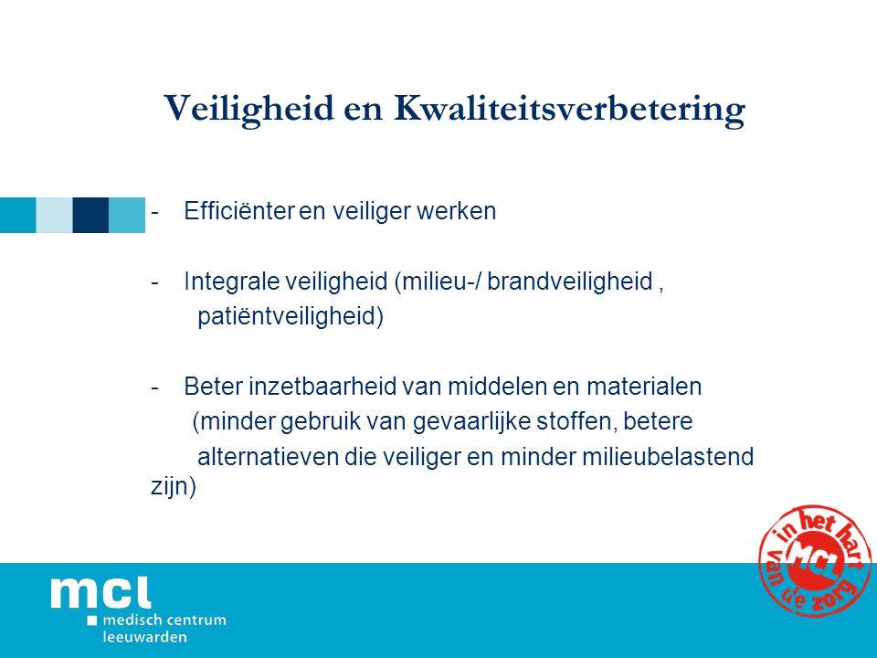 Veiligheid en Kwaliteitsverbetering -Efficiënter en veiliger werken -Integrale veiligheid (milieu-/ brandveiligheid, patiëntveiligheid) -Beter inzetba