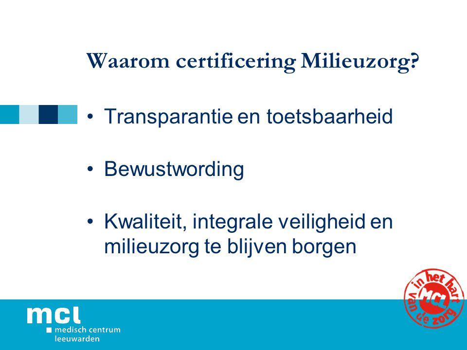Waarom certificering Milieuzorg? Transparantie en toetsbaarheid Bewustwording Kwaliteit, integrale veiligheid en milieuzorg te blijven borgen