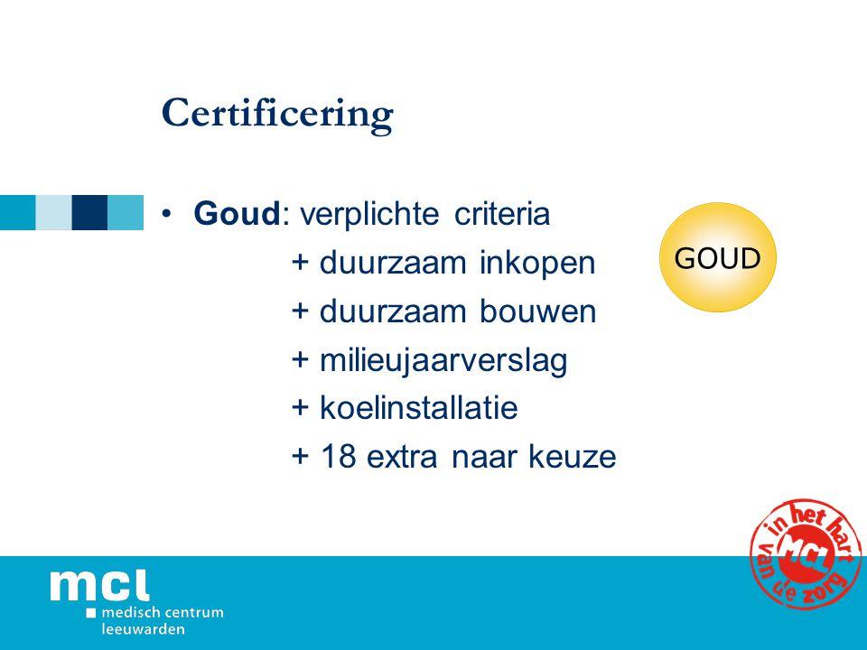 Certificering Goud: verplichte criteria + duurzaam inkopen + duurzaam bouwen + milieujaarverslag + koelinstallatie + 18 extra naar keuze GOUD