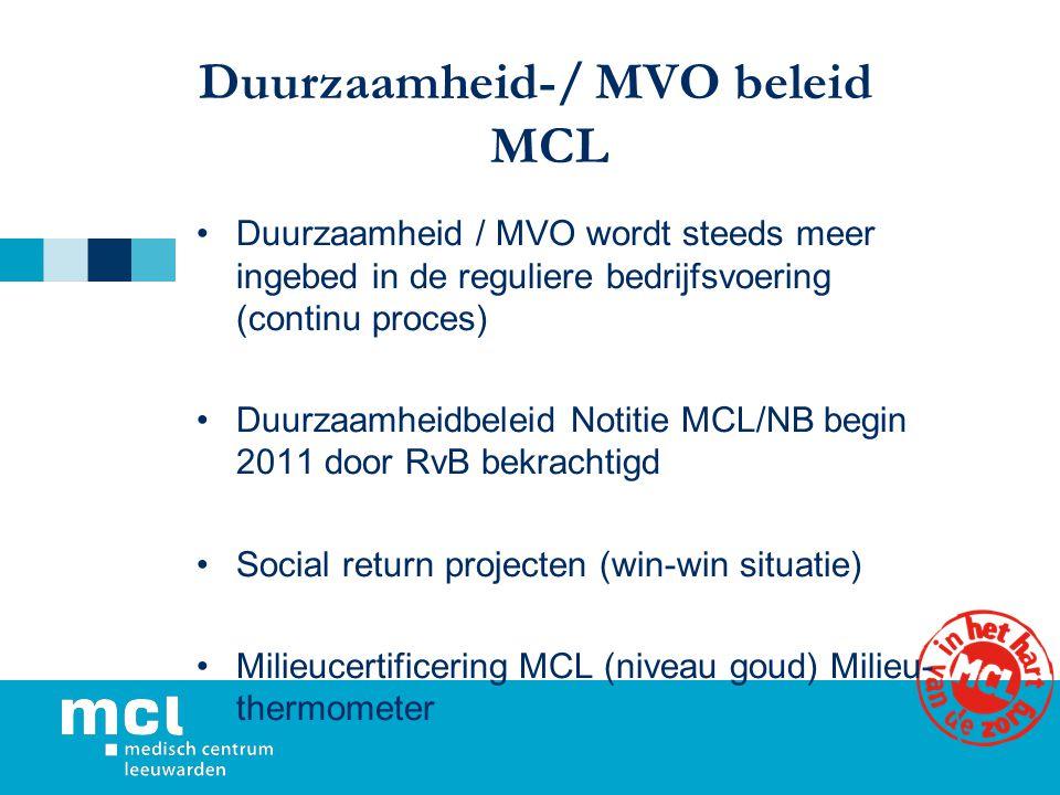 Duurzaamheid-/ MVO beleid MCL Duurzaamheid / MVO wordt steeds meer ingebed in de reguliere bedrijfsvoering (continu proces) Duurzaamheidbeleid Notitie