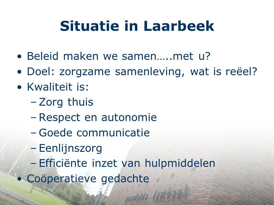 Situatie in Laarbeek Beleid maken we samen…..met u? Doel: zorgzame samenleving, wat is reëel? Kwaliteit is: –Zorg thuis –Respect en autonomie –Goede c