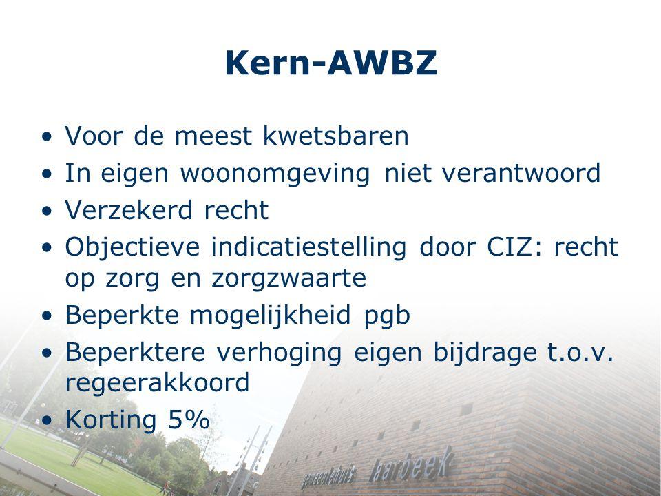 Kern-AWBZ Voor de meest kwetsbaren In eigen woonomgeving niet verantwoord Verzekerd recht Objectieve indicatiestelling door CIZ: recht op zorg en zorg