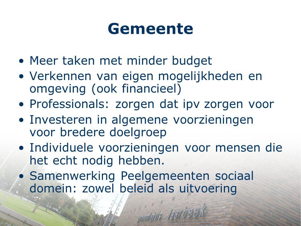 Gemeente Meer taken met minder budget Verkennen van eigen mogelijkheden en omgeving (ook financieel) Professionals: zorgen dat ipv zorgen voor Investe