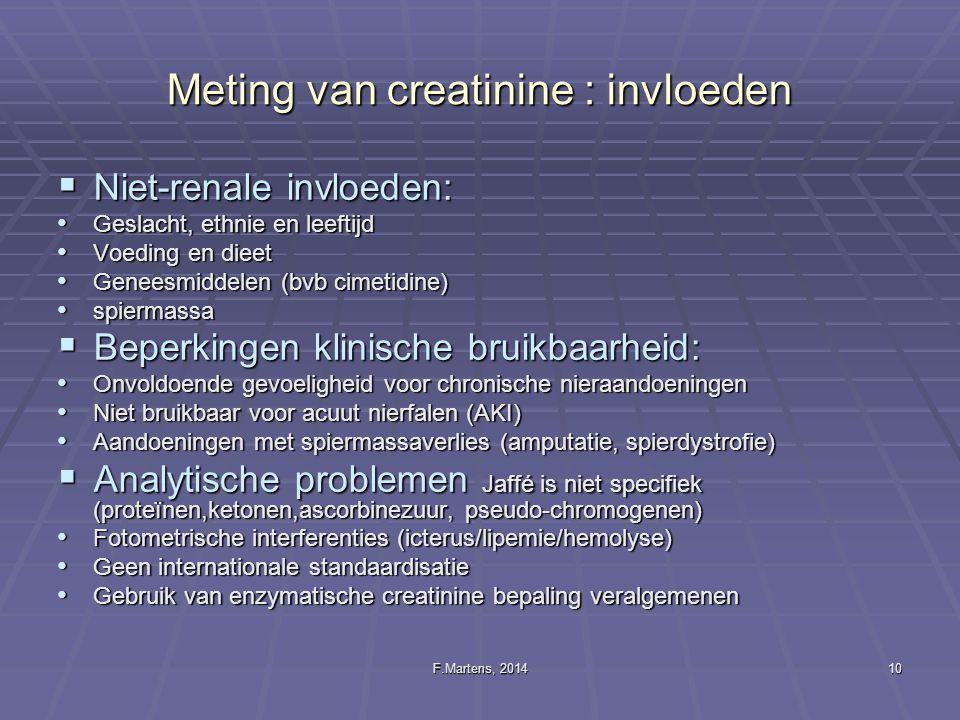 F.Martens, 201410 Meting van creatinine : invloeden  Niet-renale invloeden: Geslacht, ethnie en leeftijd Geslacht, ethnie en leeftijd Voeding en diee