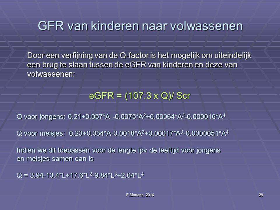 F.Martens, 201429 GFR van kinderen naar volwassenen Door een verfijning van de Q-factor is het mogelijk om uiteindelijk een brug te slaan tussen de eG