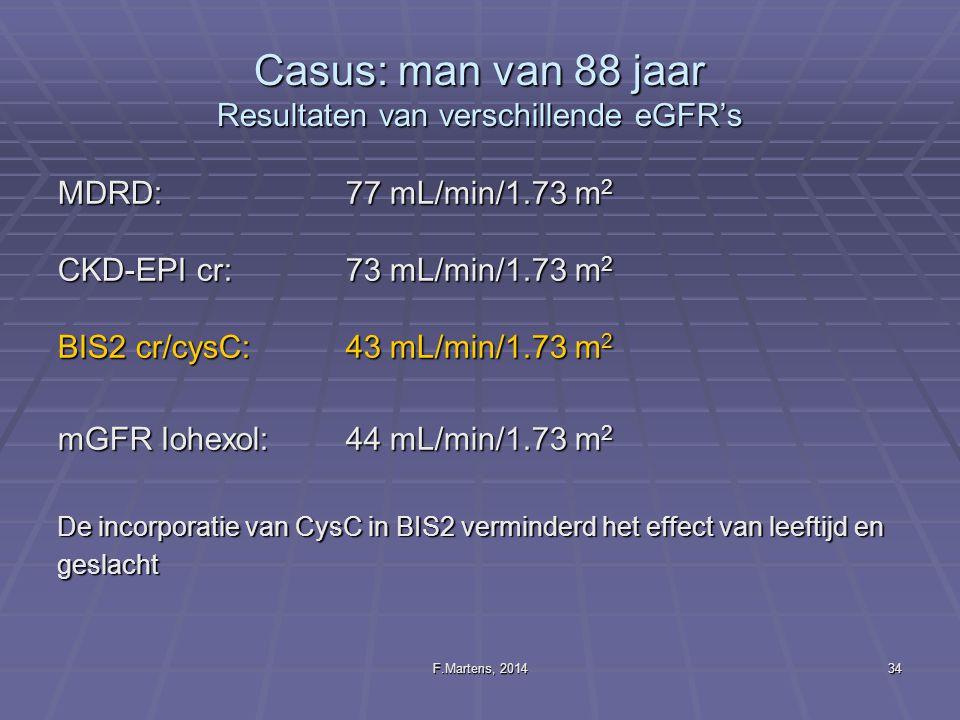 F.Martens, 201434 Casus: man van 88 jaar Resultaten van verschillende eGFR's MDRD:77 mL/min/1.73 m 2 CKD-EPI cr:73 mL/min/1.73 m 2 BIS2 cr/cysC:43 mL/