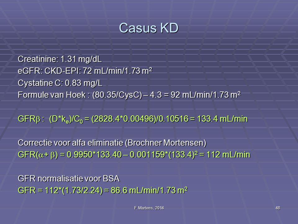 F.Martens, 201448 Casus KD Creatinine: 1.31 mg/dL eGFR: CKD-EPI: 72 mL/min/1.73 m 2 Cystatine C: 0.83 mg/L Formule van Hoek : (80.35/CysC) – 4.3 = 92