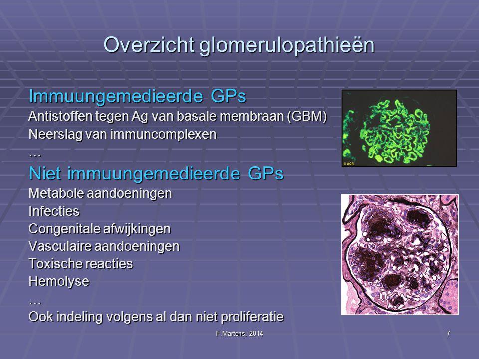 F.Martens, 201418 GFR in de pediatrie Problematische urine collectie Collectie van 24 uurs urine voor bepaling van proteinurie en CC Proteine/creatinine ratio op een éénmalig staal haalbaar Referentie waarden voor creatinine zijn sterk leeftijdsafhankelijk Aandachtspunten bij bloedonderzoek De groei heeft een impact op de ref waarden van de biomerkers creatinine en spiermassa Er is een renale immaturiteit gedurende de eerste 18 maanden eGFR blijft desondanks belangrijk voor de CKD stagering