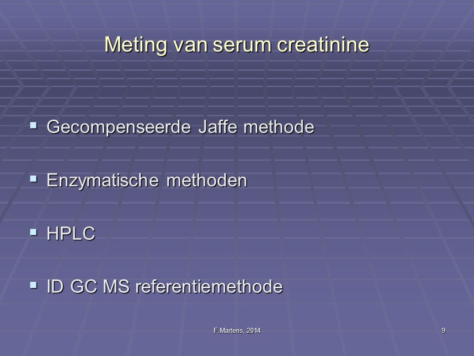 F.Martens, 201430 GFR in de pediatrie: take home messages KEEP IT SIMPLE.
