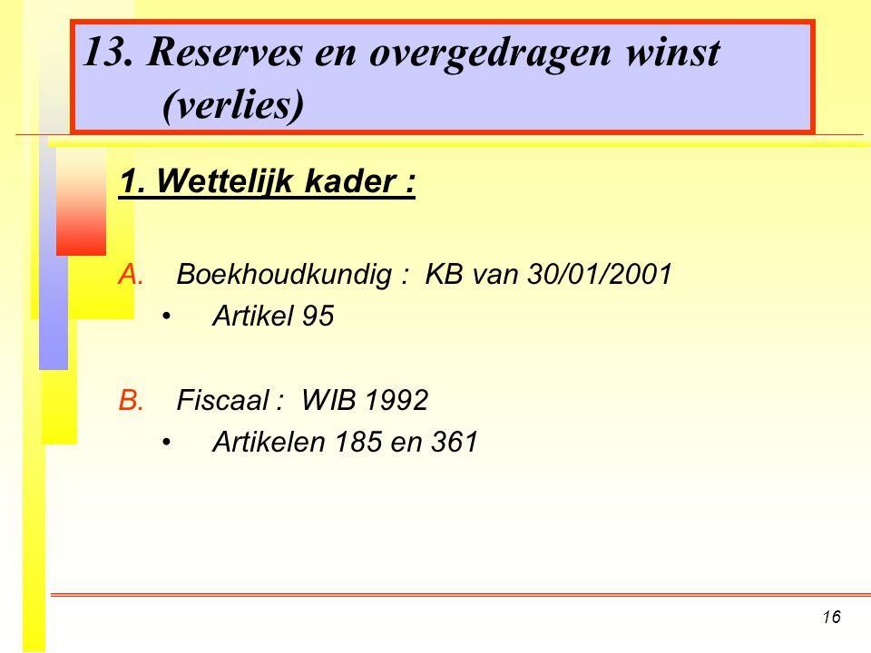 16 13.Reserves en overgedragen winst (verlies) 1.