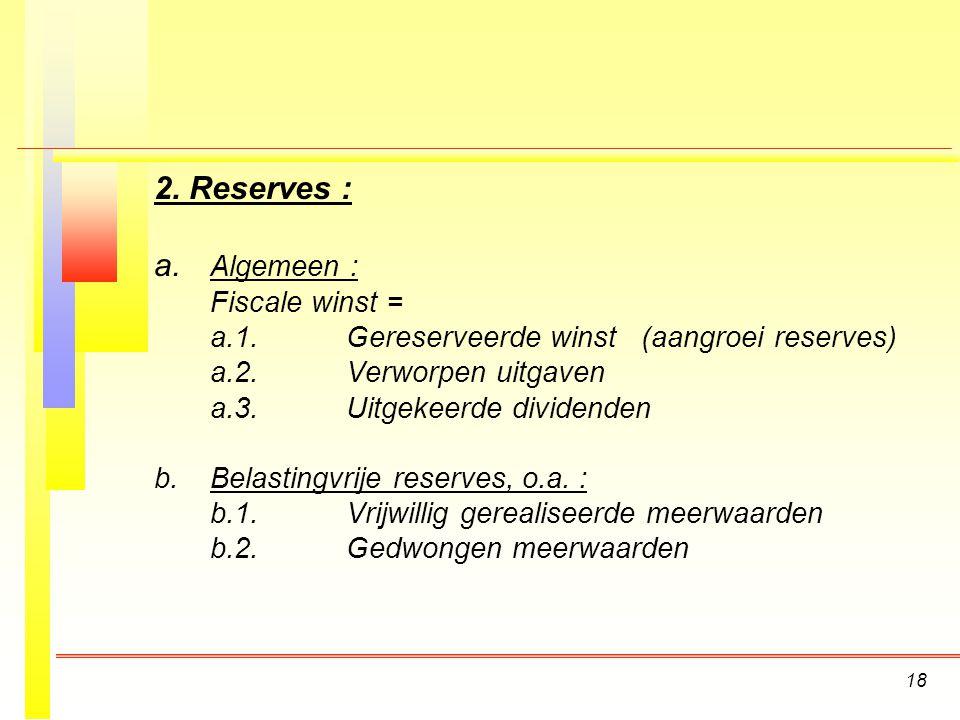 18 2.Reserves : a.