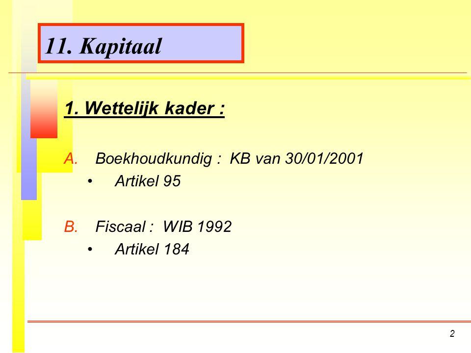 2 11.Kapitaal 1. Wettelijk kader : A. A.Boekhoudkundig : KB van 30/01/2001 Artikel 95 B.