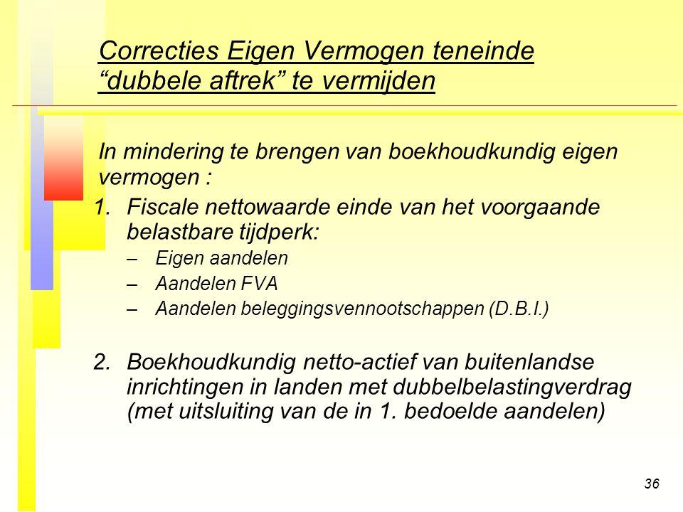 36 Correcties Eigen Vermogen teneinde dubbele aftrek te vermijden In mindering te brengen van boekhoudkundig eigen vermogen : 1.