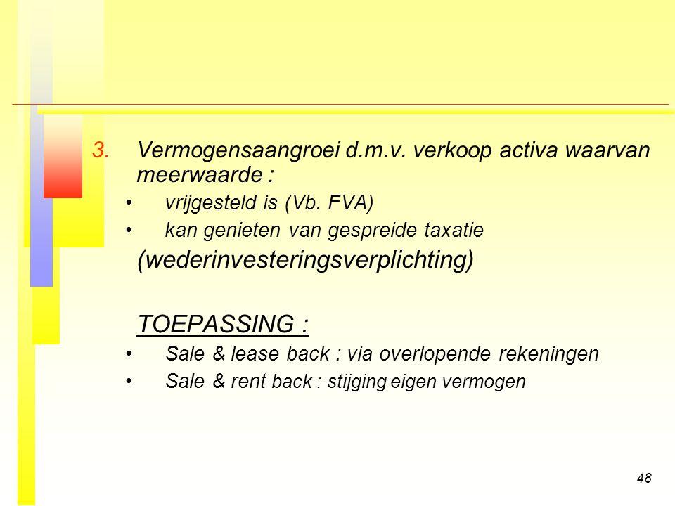48 3.3.Vermogensaangroei d.m.v. verkoop activa waarvan meerwaarde : vrijgesteld is (Vb.