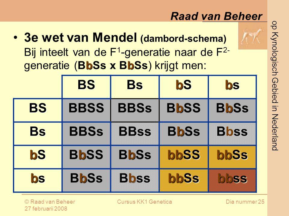 op Kynologisch Gebied in Nederland Raad van Beheer © Raad van Beheer 27 februarii 2008 Cursus KK1 GeneticaDia nummer 25 BSBs bSbSbSbS bsbsbsbs BSBBSSBBSs b BbSS b BbSs BsBBSs ss BBss b BbSs bss Bbss bSbSbSbS b BbSS b BbSs bbSS bbSs bsbsbsbs b BbSs bss Bbss bbSs bbss 3e wet van Mendel (dambord-schema) bb Bij inteelt van de F 1 -generatie naar de F 2- generatie (BbSs x BbSs) krijgt men: