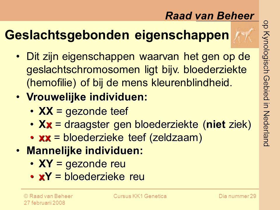 op Kynologisch Gebied in Nederland Raad van Beheer © Raad van Beheer 27 februarii 2008 Cursus KK1 GeneticaDia nummer 29 Geslachtsgebonden eigenschappen Dit zijn eigenschappen waarvan het gen op de geslachtschromosomen ligt bijv.