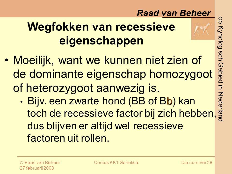 op Kynologisch Gebied in Nederland Raad van Beheer © Raad van Beheer 27 februarii 2008 Cursus KK1 GeneticaDia nummer 38 Wegfokken van recessieve eigenschappen Moeilijk, want we kunnen niet zien of de dominante eigenschap homozygoot of heterozygoot aanwezig is.
