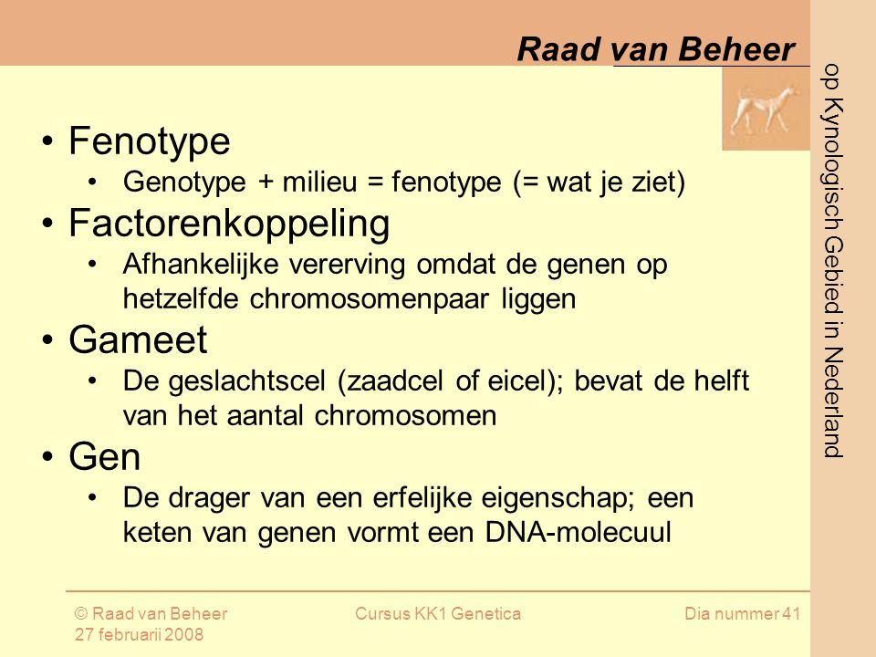 op Kynologisch Gebied in Nederland Raad van Beheer © Raad van Beheer 27 februarii 2008 Cursus KK1 GeneticaDia nummer 41 Fenotype Genotype + milieu = fenotype (= wat je ziet) Factorenkoppeling Afhankelijke vererving omdat de genen op hetzelfde chromosomenpaar liggen Gameet De geslachtscel (zaadcel of eicel); bevat de helft van het aantal chromosomen Gen De drager van een erfelijke eigenschap; een keten van genen vormt een DNA-molecuul
