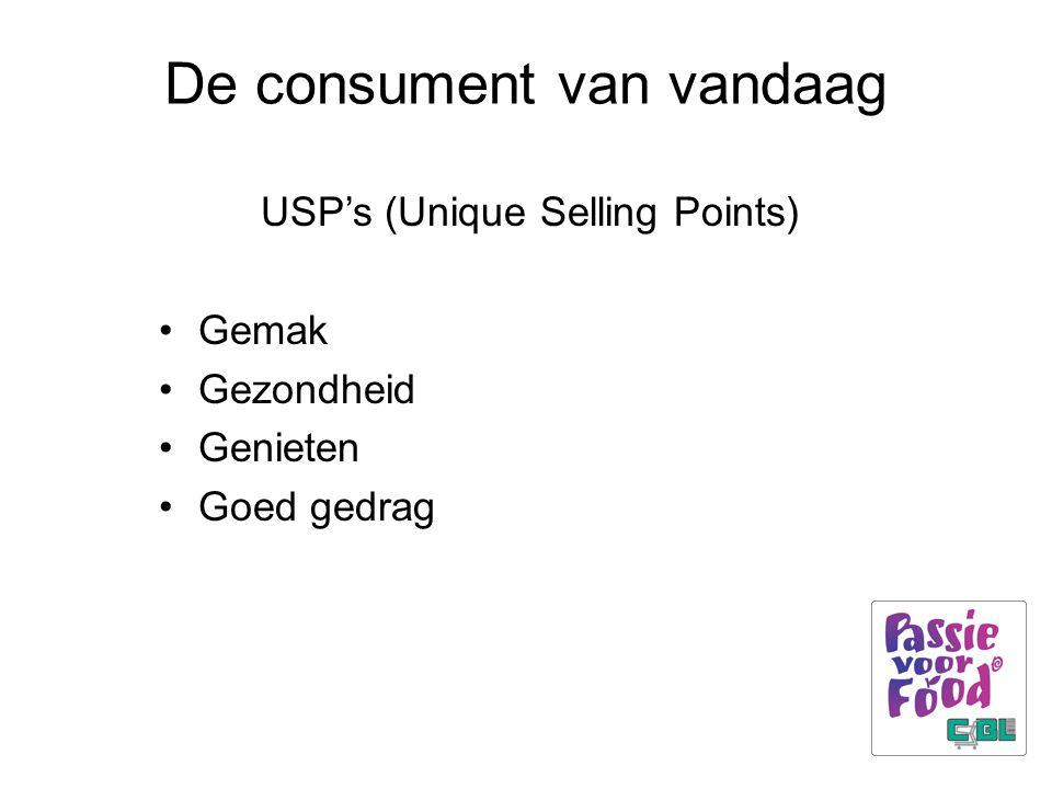 De consument van vandaag USP's (Unique Selling Points) Gemak Gezondheid Genieten Goed gedrag