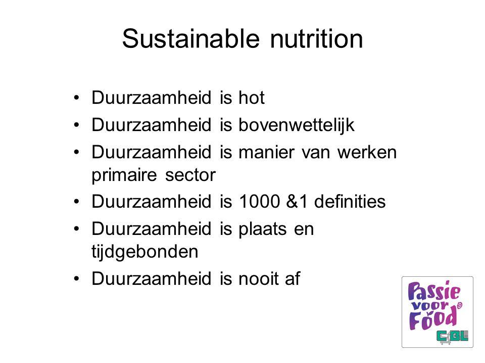 Sustainable nutrition Duurzaamheid is hot Duurzaamheid is bovenwettelijk Duurzaamheid is manier van werken primaire sector Duurzaamheid is 1000 &1 definities Duurzaamheid is plaats en tijdgebonden Duurzaamheid is nooit af